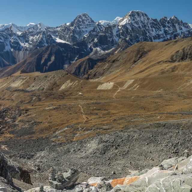 """""""View from Cho La (5368m) towards the West. Solukhumbu, Nepal."""" stock image"""