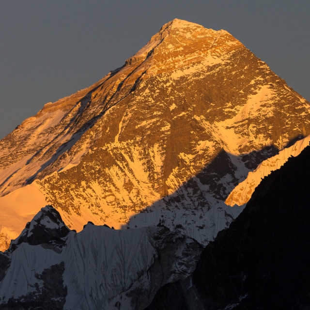 """Mt. Everest seen from Gokyo Ri at sunset"" stock image"