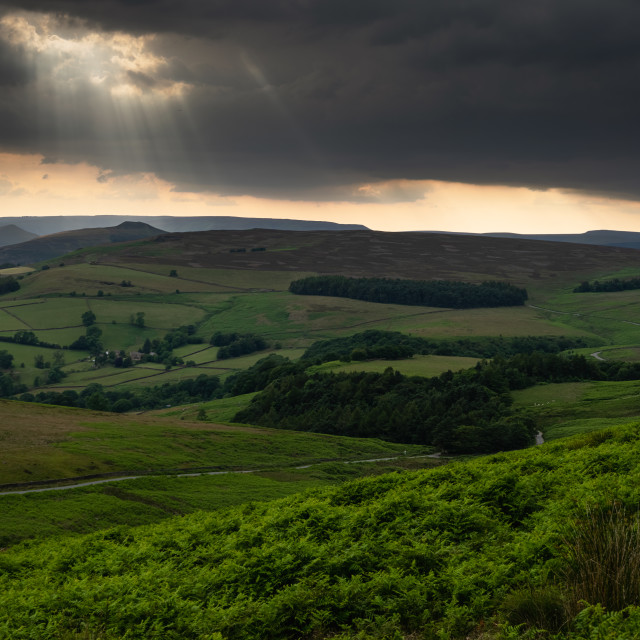 """Torch light in the sky, The Peak District"" stock image"