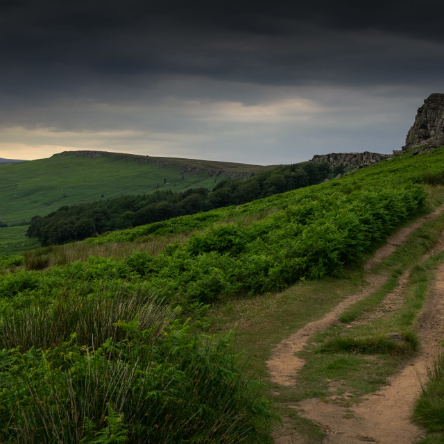 """Moody skies over Stannage Edge, UK"" stock image"