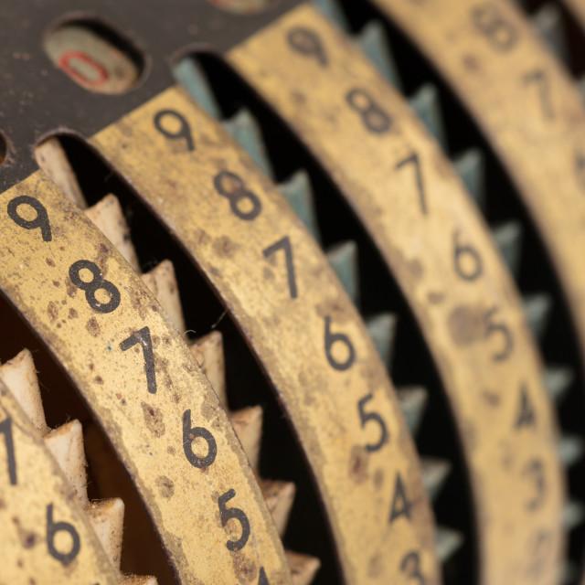 """Vintage manual adding machine isolated, yellow"" stock image"