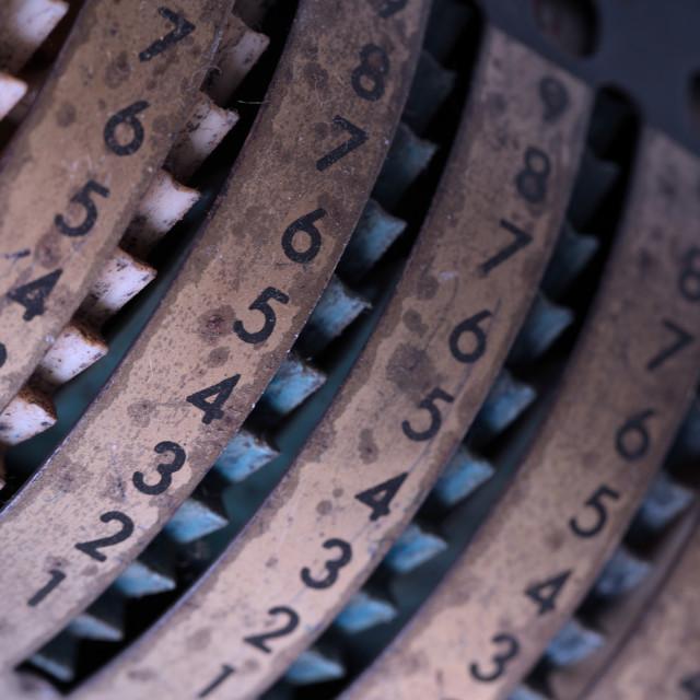 """""""Vintage manual adding machine isolated, blue"""" stock image"""