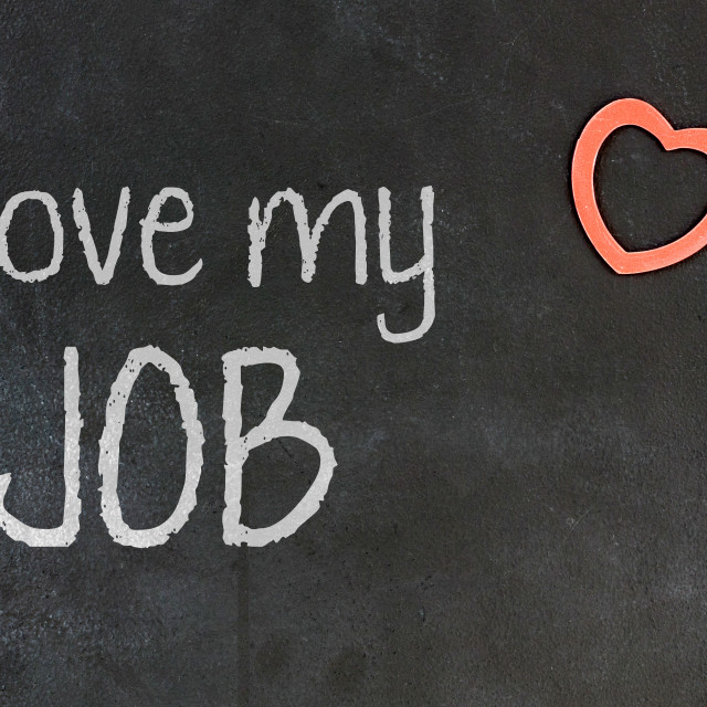 """""""Blackboard with small red heart - I love my job"""" stock image"""