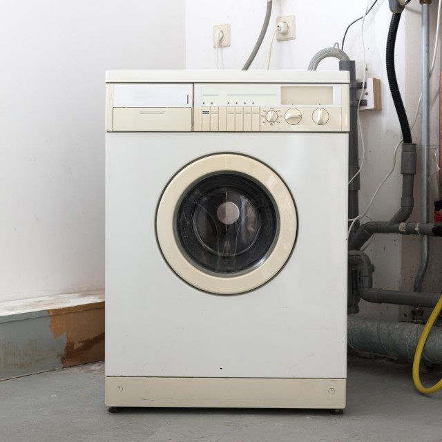 """Old dirty washing machine"" stock image"
