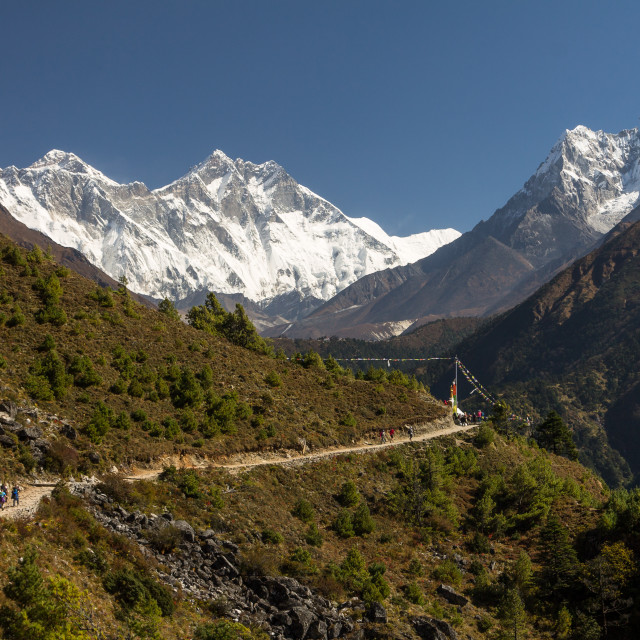 """""""Dudh Koshi Valley - view from the traverse between Namche Bazaar and Kyangjuma en-route to the Everest Base Camp"""" stock image"""