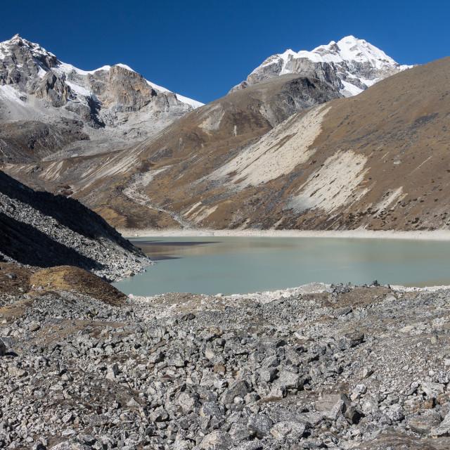 """""""Thanak Tsho above Gokyo. Everest Region Trek."""" stock image"""