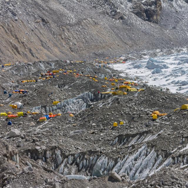 """Everest Base Camp on the Nepali side"" stock image"