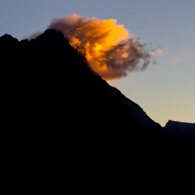 """Lhotse and Nuptse at sunrise seen from Gokyo Ri"" stock image"