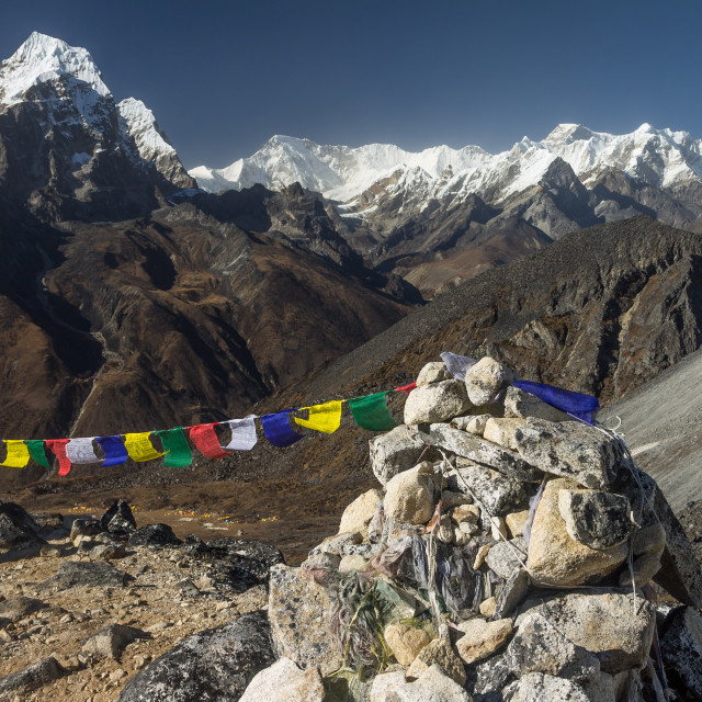 """""""View from the ridge above Ama Dablam Base Camp. Taboche, Cho Oyu and Lobuche Peak among others"""" stock image"""