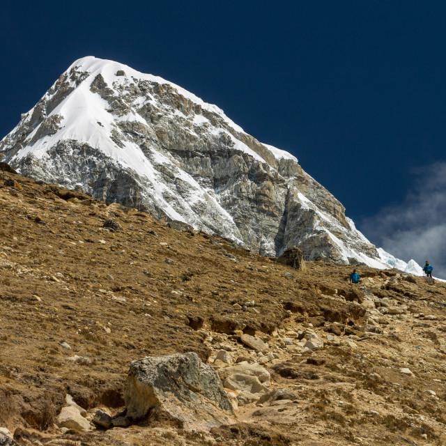 """Pumori (7161m) seen from the way to the Kala Patthar peak. Everest Base Camp Trek, Nepal."" stock image"