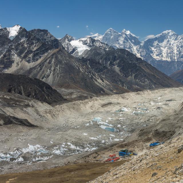 """Gorakshep, Kumbu Glacier and the fantastic panorama of peaks around the Khumbu Valley as seen from the way to the Kala Patthar peak. Everest Region, Nepal."" stock image"