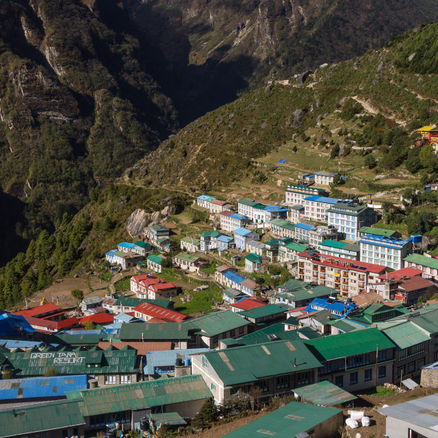 """""""Namche Bazaar, the famous capital of the Sherpas' land"""" stock image"""