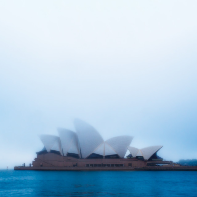 """Sydney Opera House in the morning fog"" stock image"