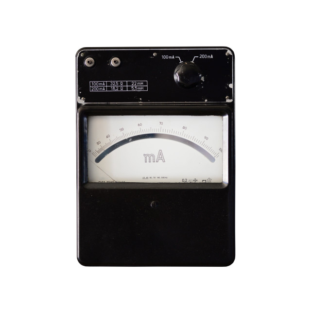 """""""vintage ammeter isolated"""" stock image"""