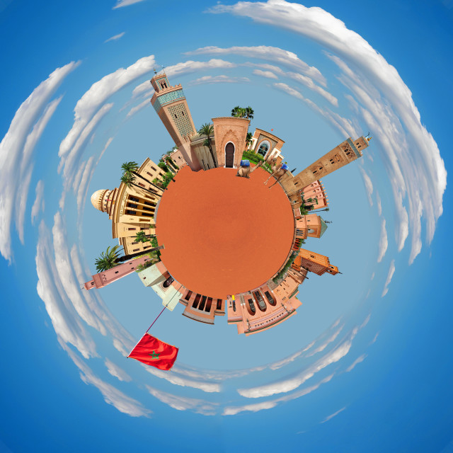 """Marrakech tiny planet"" stock image"