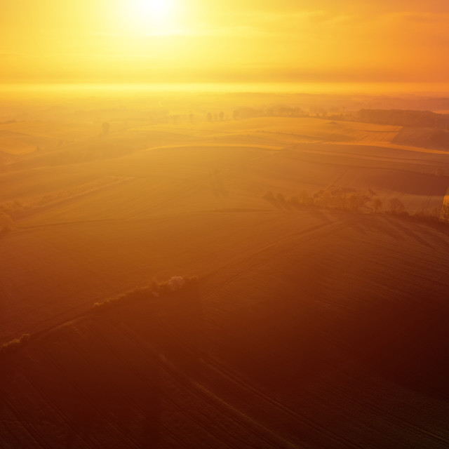 """Aerial scenic view of sunrise ofer green grain field"" stock image"