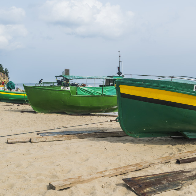 """Beached Fishing Boats"" stock image"