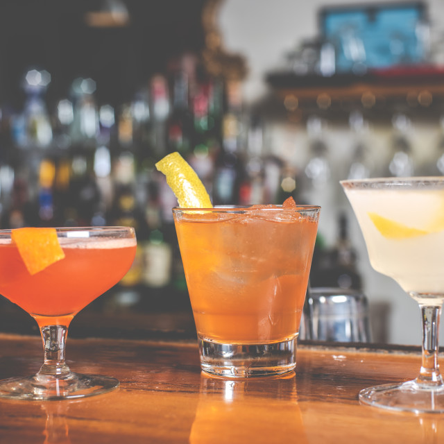 """""""A trio of cocktails"""" stock image"""