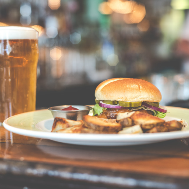 """""""Burger and a beer"""" stock image"""