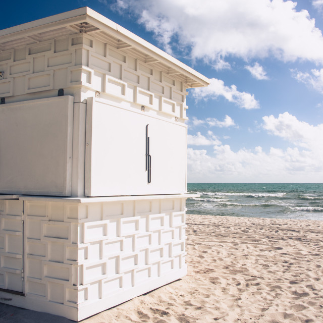"""A white beach hut"" stock image"