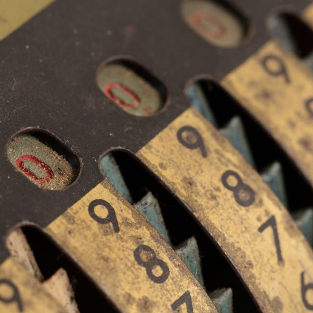 """""""Vintage manual adding machine isolated"""" stock image"""