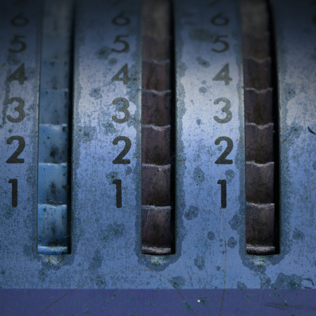 """Vintage manual adding machine isolated, blue"" stock image"
