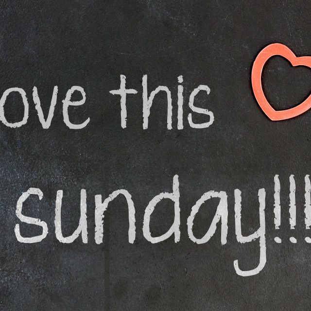 """Blackboard with small red heart - I Love this sunday"" stock image"