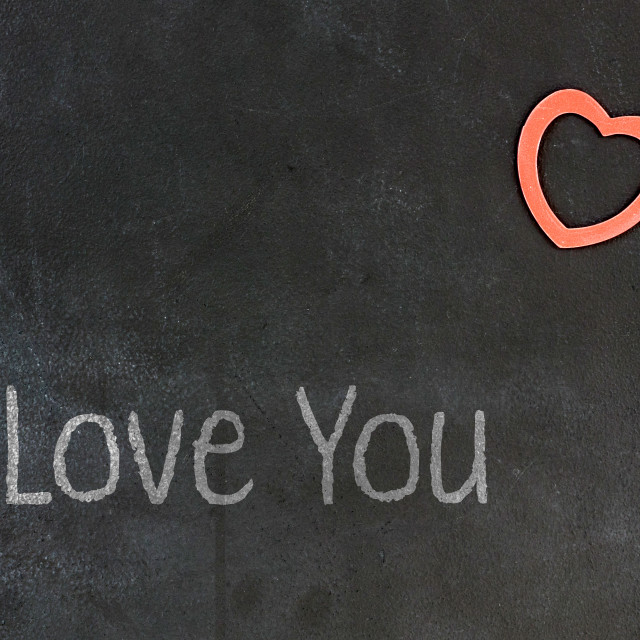 """Blackboard with small red heart - I Love you"" stock image"