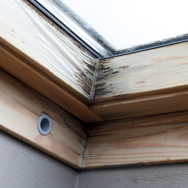 """Roof window after leaking"" stock image"