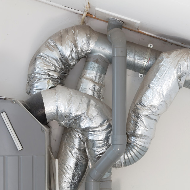 """Installation of heating system"" stock image"