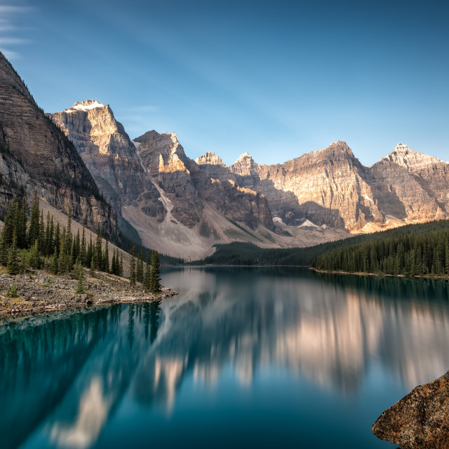"""Morning at Moraine Lake"" stock image"
