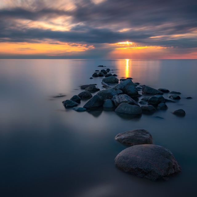 """Sunset on the Rocks"" stock image"