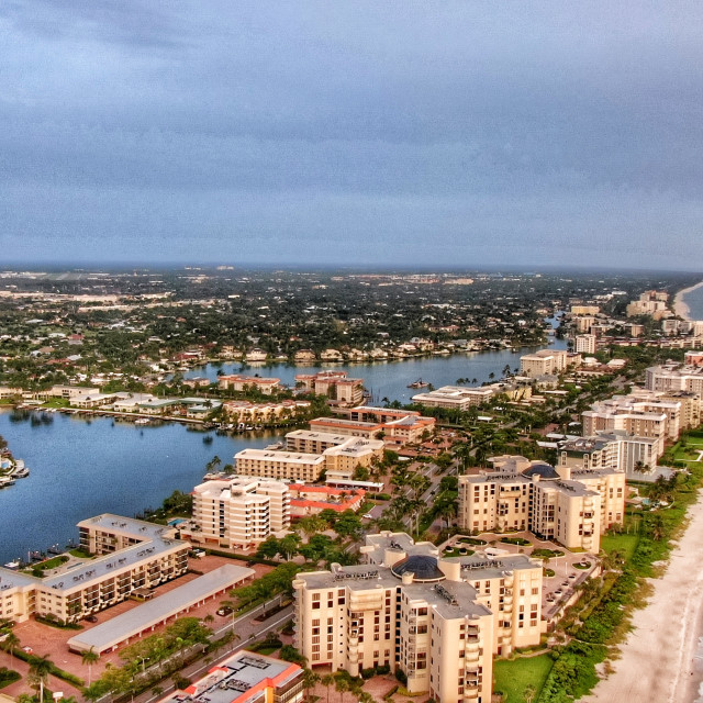 """Drone Aerial Of Coastline In Naples Florida"" stock image"