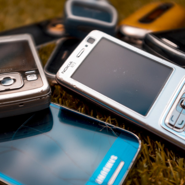"""Selection of old mobile cell phones"" stock image"