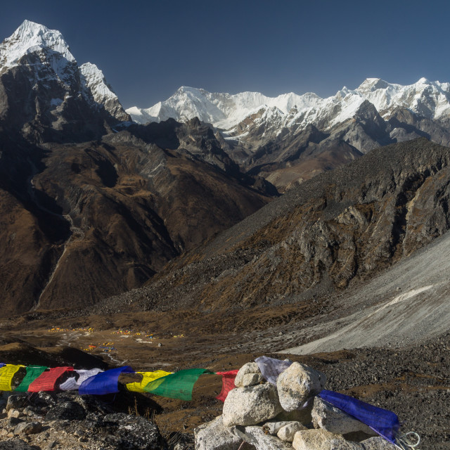 """""""Cho Oyu, Tenzing Peak and Hillary Peak among others seen from a moraine above the Ama Dablam BC"""" stock image"""