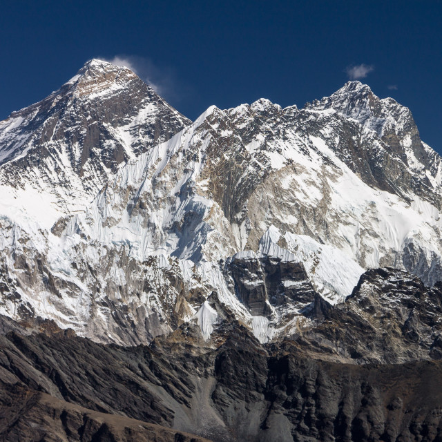 """Everest, Nuptse and Lhotse seen from Renjo La"" stock image"