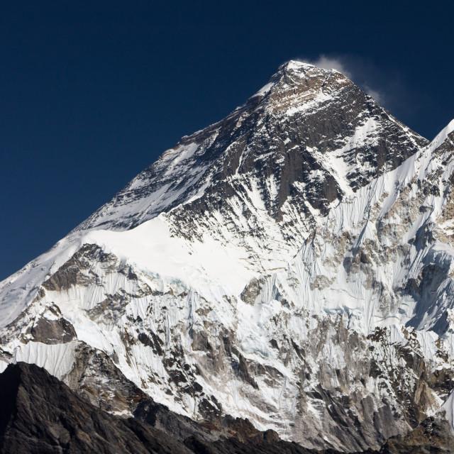 """Mount Everest seen from Renjo La"" stock image"