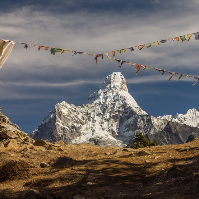 """""""Ama Dablam seen from the pass between Khumjung and Syangboche"""" stock image"""