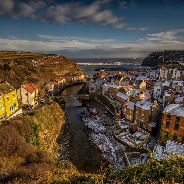 """""""Staithes Village"""" stock image"""