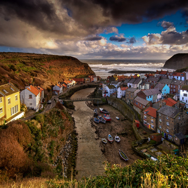 """""""Gathering Storm at Staithes"""" stock image"""