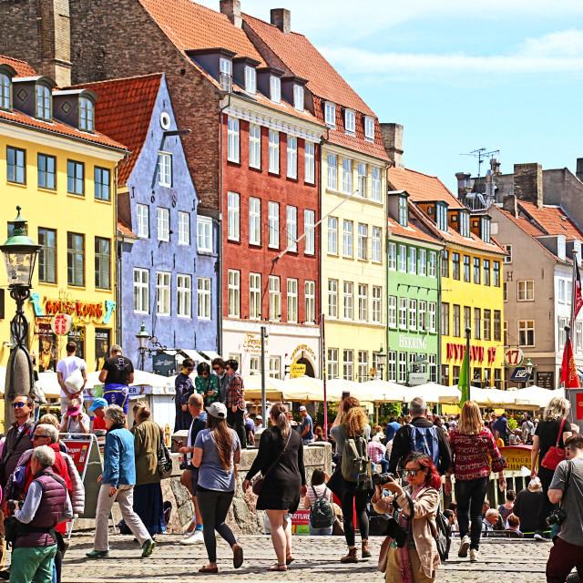 """COPENHAGEN, DENMARK - JUNE 16, 2019 Panoramic view of Nyhavn harbor..."" stock image"