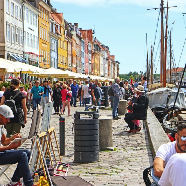 """""""COPENHAGEN, DENMARK - JUNE 16, 2019 Picturesque summer view of Nyhavn harbor,..."""" stock image"""