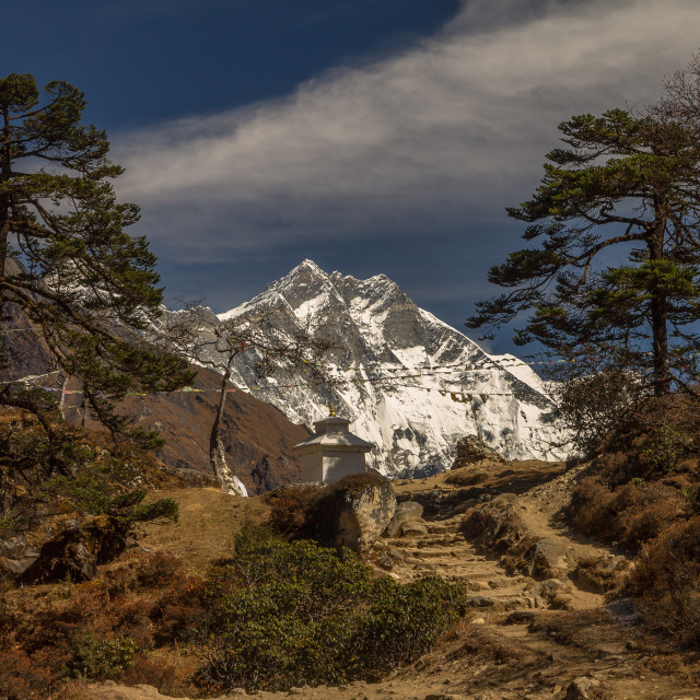 """""""Lhotse seen from the pass between Khumjung and Syangboche"""" stock image"""