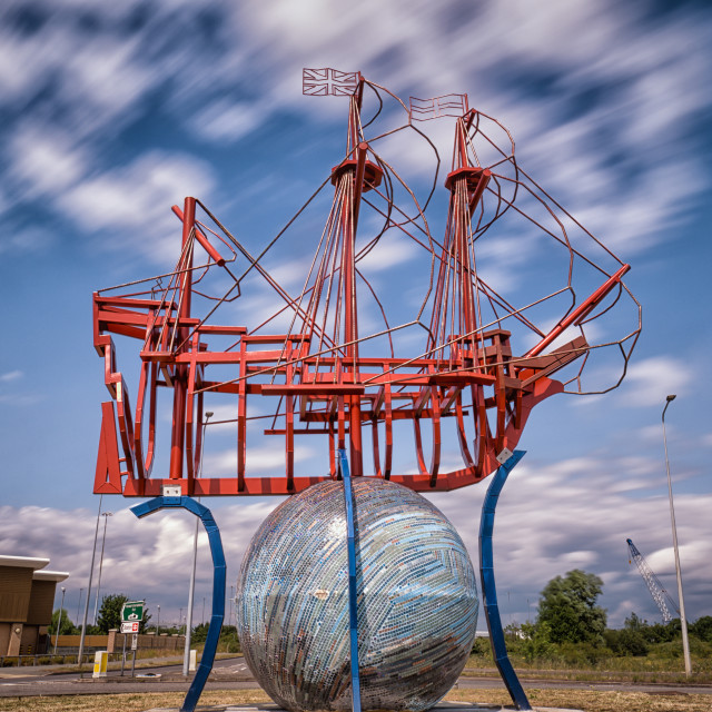 """Mayflower Ship Sculpture"" stock image"