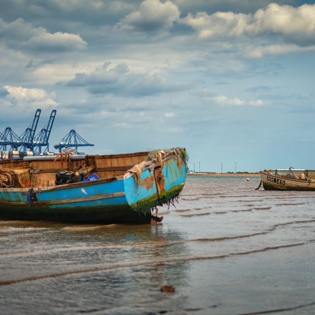 """Fishing Boats at Harwich Beach"" stock image"