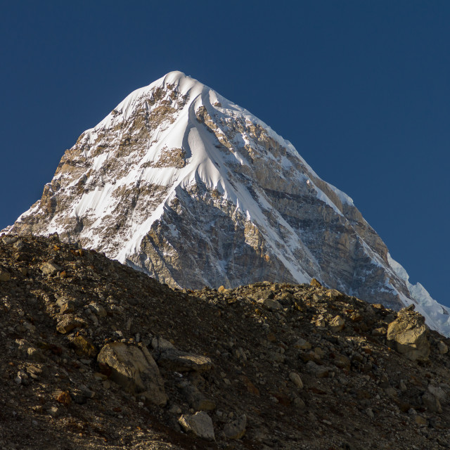 """""""Pumori - late afternoon view from Lobuche"""" stock image"""