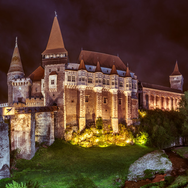 """Night Corvin Castle"" stock image"