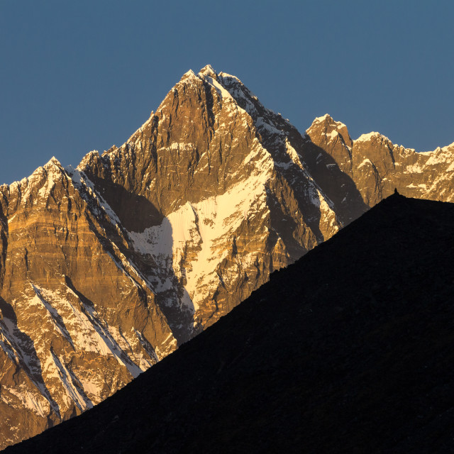 """""""Lhotse, the South Face. Sunset view."""" stock image"""