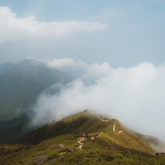 """""""Hiking Hong Kong Lantau Peak"""" stock image"""