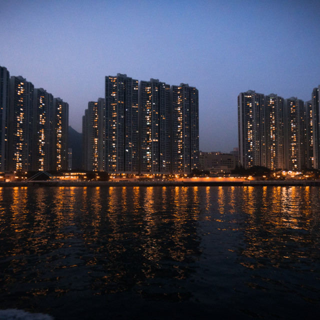 """""""Hong Kong Cityscape Night from Boat"""" stock image"""